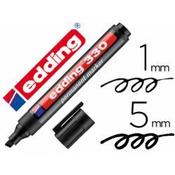 Rotulador permanente Edding 330 negro punta biselada 1-5mm recargable