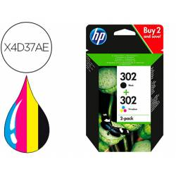 Cartucho HP 302 Pack 2 cartuchos Negro y Tricolor X4D37AE