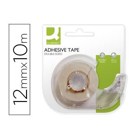 Cinta adhesiva doble cara Q-Connect 10 mt x 12 mm con portarrollo embalaje