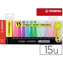 Rotulador Stabilo Boss 70 Fluorescente Colores Surtidos Blister de 15 unidades