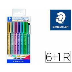 Rotulador Marcador Staedtler Metálico 8323 Colores Surtidos Blister 6 unidades+Rotulador Calibrado 308 C2-9