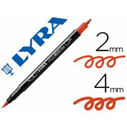 Rotulador Lyra aqua brush acuarelable doble punta fina y punta pincel carmin oscuro