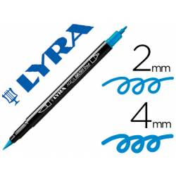 Rotulador Lyra aqua brush acuarelable doble punta fina y punta pincel azul natural
