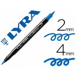 Rotulador Lyra aqua brush acuarelable doble punta fina y punta pincel azul cobalto claro