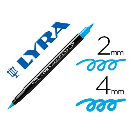Rotulador Lyra aqua brush acuarelable doble punta fina y pincel azul claro