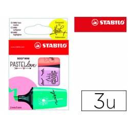 Rotulador Stabilo Boss Mini Pastellove Estuche 3 Unidades Melocoton/brisa violeta/menta