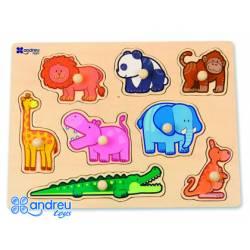 Puzzle Animales de la selva 8 piezas a partir de 18 meses marca Andreutoys