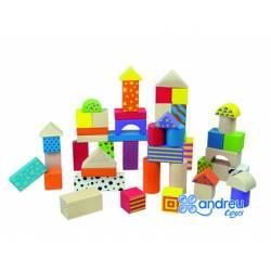 Juego de construccion a partir de 2 años bloques de madera 50 piezas marca Ambitoys