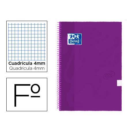 Cuaderno Oxford Folio Lila Tapa Extradura Cuadrícula 4 mm 80 hojas