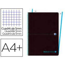 Cuaderno Oxford Ebook 1 A4+ Negro y Turquesa 80 hojas Tapa Plastico Cuadricula 5 mm