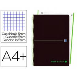 Cuaderno Oxford Ebook 1 A4+ Negro y Verde Tapa Plastico Cuadricula 5 mm