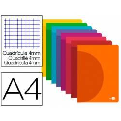 Libreta Liderpapel Serie 360 Din A4 cuadricula 4mm tapa plastico colores surtidos