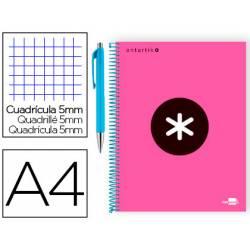 Bloc Antartik A4 Cuadrícula tapa Forrada 100g/m2 color Rosa + Bolígrafo Caran D'ache