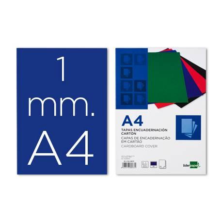 Tapa de Encuadernacion Carton Liderpapel DIN A4 Azul 1mm pack 50 uds