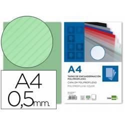 Tapa de Encuadernacion Polipropileno Rayado Liderpapel DIN A4 Verde 0.5mm pack 100 uds
