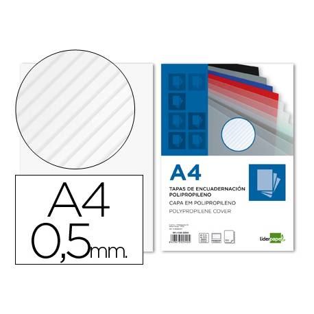 Tapa de Encuadernacion Polipropileno Rayado Liderpapel DIN A4 Transparente 0.5mm pack 100 uds