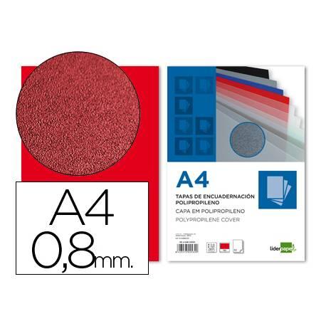 Tapa de Encuadernacion Polipropileno Liderpapel DIN A4 Roja 0.8mm pack 50 uds