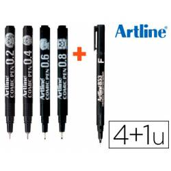 Rotulador Artline Calibrado Comic Pen Trazos Surtidos color Negro + Permanente 853