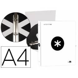 Carpeta 4 anillas 25mm Liderpapel Antartik A4 blanco carton forrado