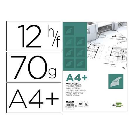 Papel Vegetal Liderpapel DIN A4+ de 70g/m2 Sobre de 12 hojas