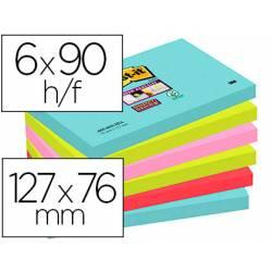 Bloc Quita y Pon Post-It ® Super Sticky 76X127 mm Miami