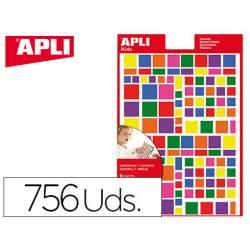 Gomets APLI autoadhesivo cuadrados multicolor