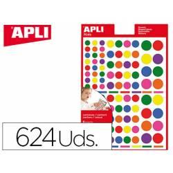 Gomets APLI autoadhesivo círculo multicolor
