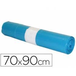 Bolsa basura azul 70x90cm uso industrial galga 110 rollo de 10 unidades
