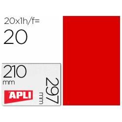 Etiqueta Adhesiva Apli 210x297 mm Rojo Fluorescente Caja con 20 hojas