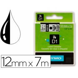 Cinta Dymo D1 color negro y transparente 12mm x 7 mt
