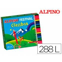 Lapices de colores alpino festival classbox caja de 288 unidades 12 colores + sacapuntas