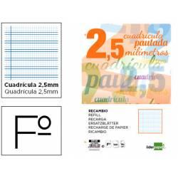 Recambio Liderpapel folio 80 gr cuadricula pautada 2,5 mm