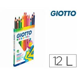 Lapices de colores Giotto mega triangulares caja de 12 unidades mina gruesa