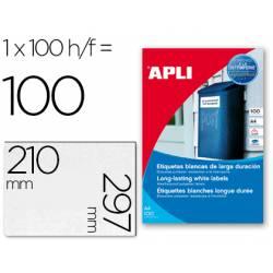 100 Apli Etiquetas adhesivas 12121 tamaño 210x297 mm poliéster impresión laser. 1 Etiqueta por hoja