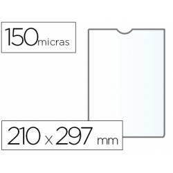 Funda portacarnet Q-connect 210x297mm 150 micras transparente con uñero