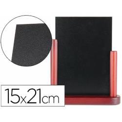 Pizarra sobremesa Liderpapel negra doble cara de madera 15x21 cm