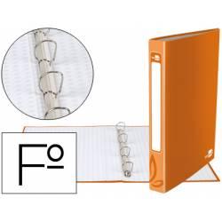 Carpeta Liderpapel 4 anillas 25 mm mixtas carton forrado folio color naranja