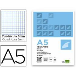 Recambio Liderpapel DIN A5 6 taladros 80 gr cuadrícula 5mm