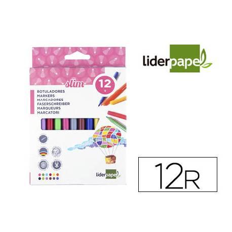 Rotulador Liderpapel fino lavable caja 12 colores