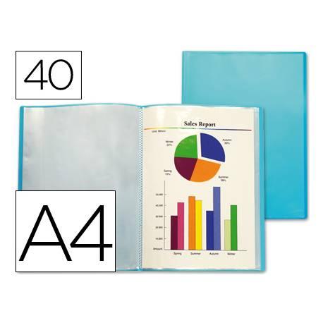 Carpeta Beautone escaparate azul con 40 fundas fijas Din a4