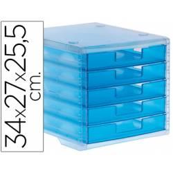 Fichero cajones de sobremesa Liderpapel 340x270x255 mm apilables 5 cajones azul translucido