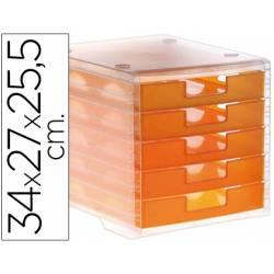 Fichero cajones de sobremesa Liderpapel 340x270x255 mm apilables 5 cajones naranja translucido