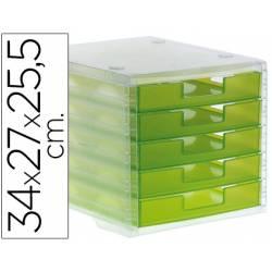 Fichero cajones de sobremesa Liderpapel 340x270x255 mm apilables 5 cajones verde translucido