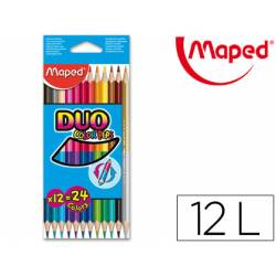 Lapices de colores Maped triangulares caja 12 unidades DUO
