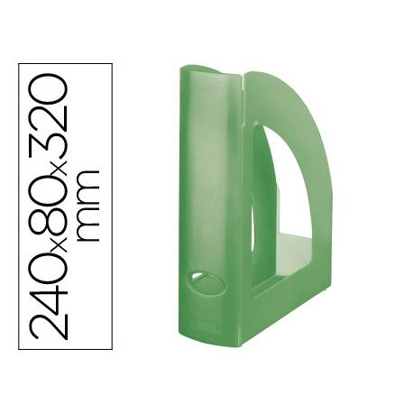Revistero plastico Liderpapel verde translucido