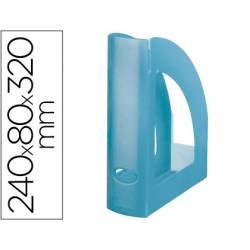Revistero plastico Liderpapel azul translucido