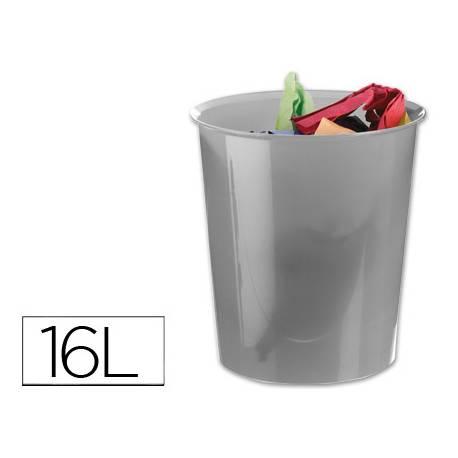 Papelera plástico Q-Connect gris transparente 16 litros