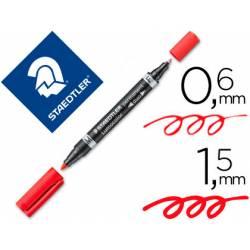 Rotulador Permanente Staedtler Lumocolor Dúo 348 Rojo Doble Punta