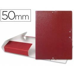 Carpeta de proyectos Liderpapel de carton con gomas. Folio. Rojo. 5 cm