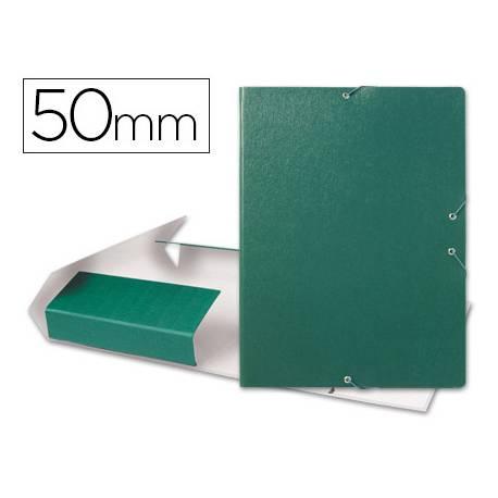 Carpeta de proyectos Liderpapel de carton con gomas. Folio. Verde. 5 cm